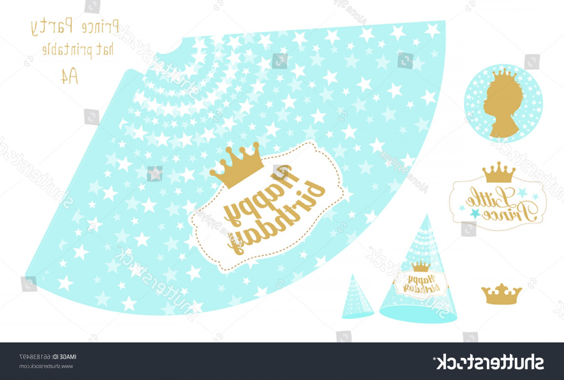 Teal Birthday Hat Vector: Party Hats Printable Blue Gold Prince
