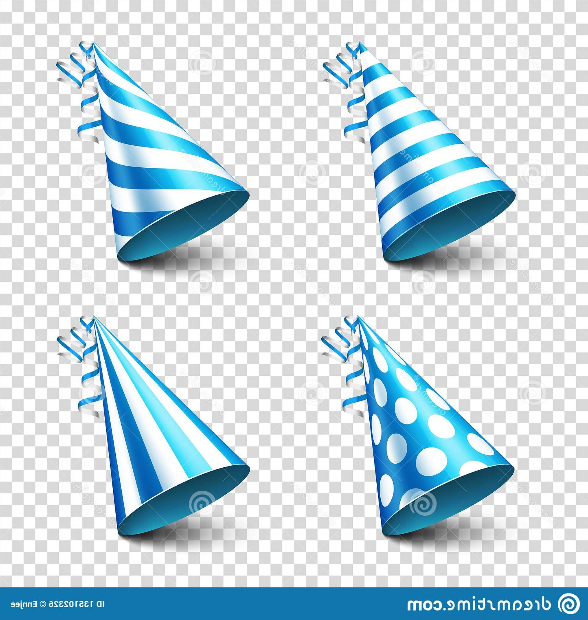 Teal Birthday Hat Vector: Party Shiny Hat Ribbon Holiday Decoration Celebration Birthday Vector Illustration Transparent Background Set Image