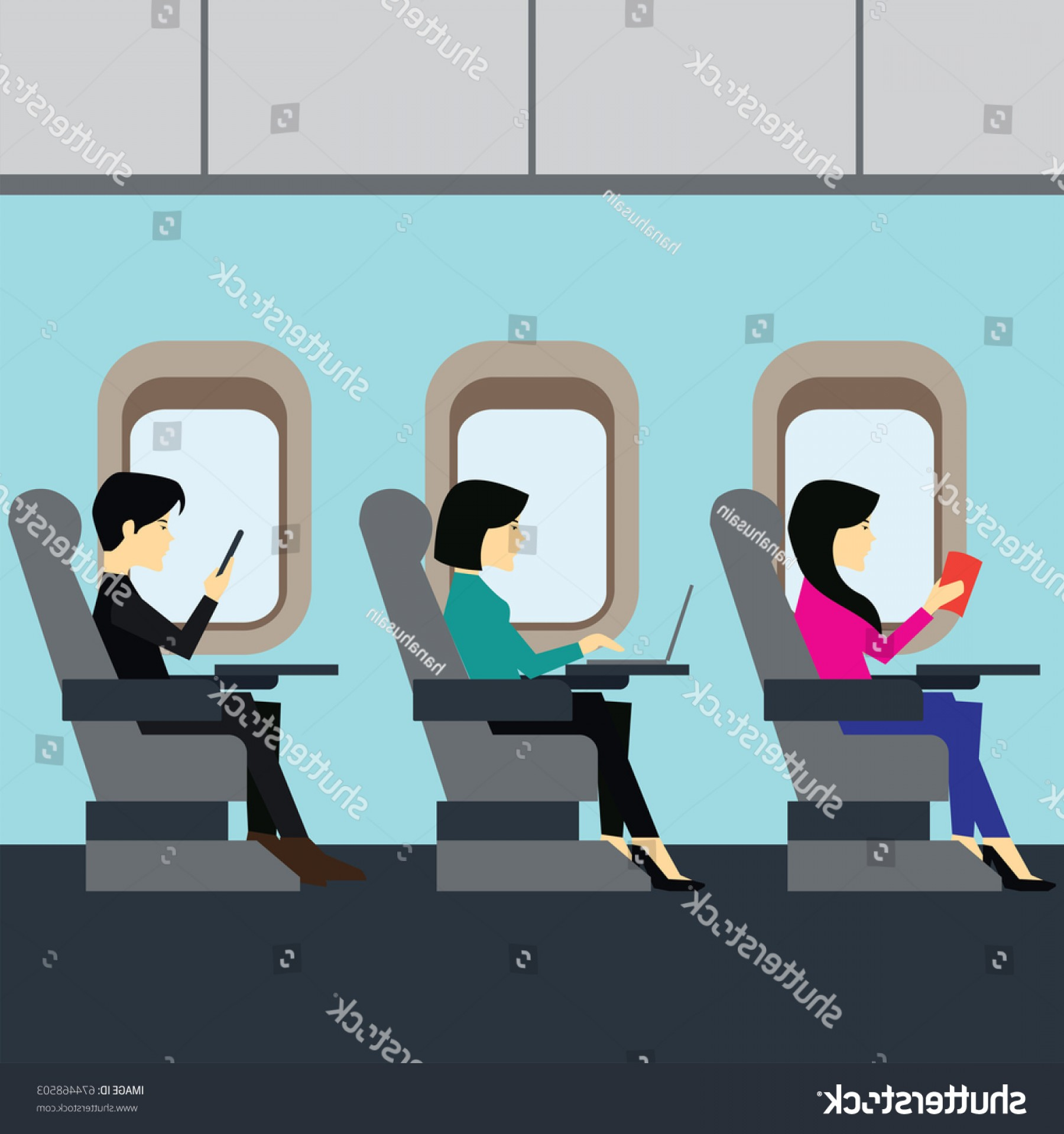 Vector Man Working In Cabin: Passengers Working On Airplane Business Class