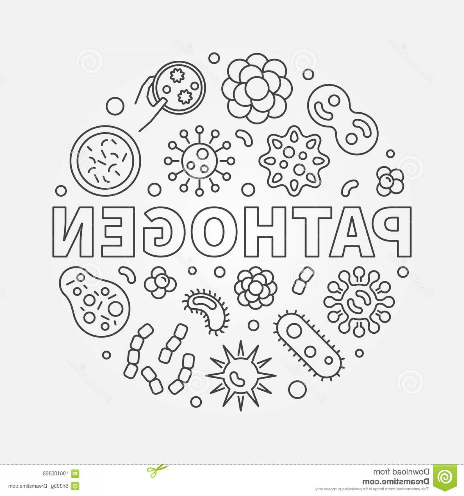 Vector Pathogen: Pathogen Round Illustration Vector Concept Circular Symbol Made Bad Bacteria Microbes Outline Icons Image