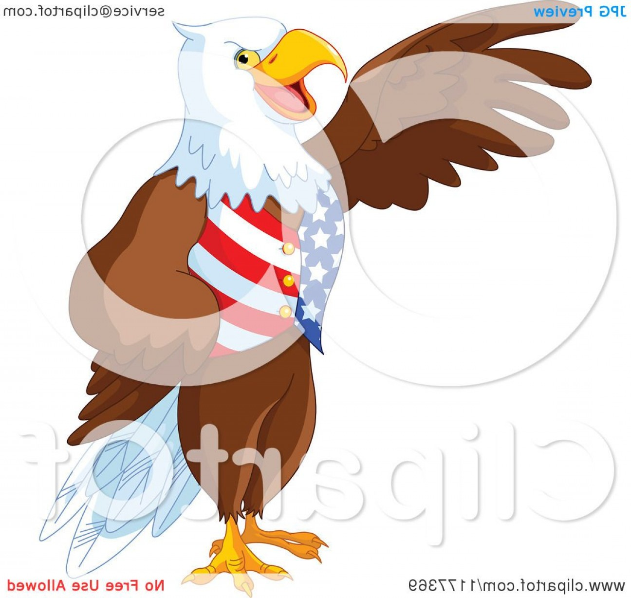 Patriotic Bald Eagle Vector: Patriotic American Bald Eagle Presenting And Wearing A Usa Vest