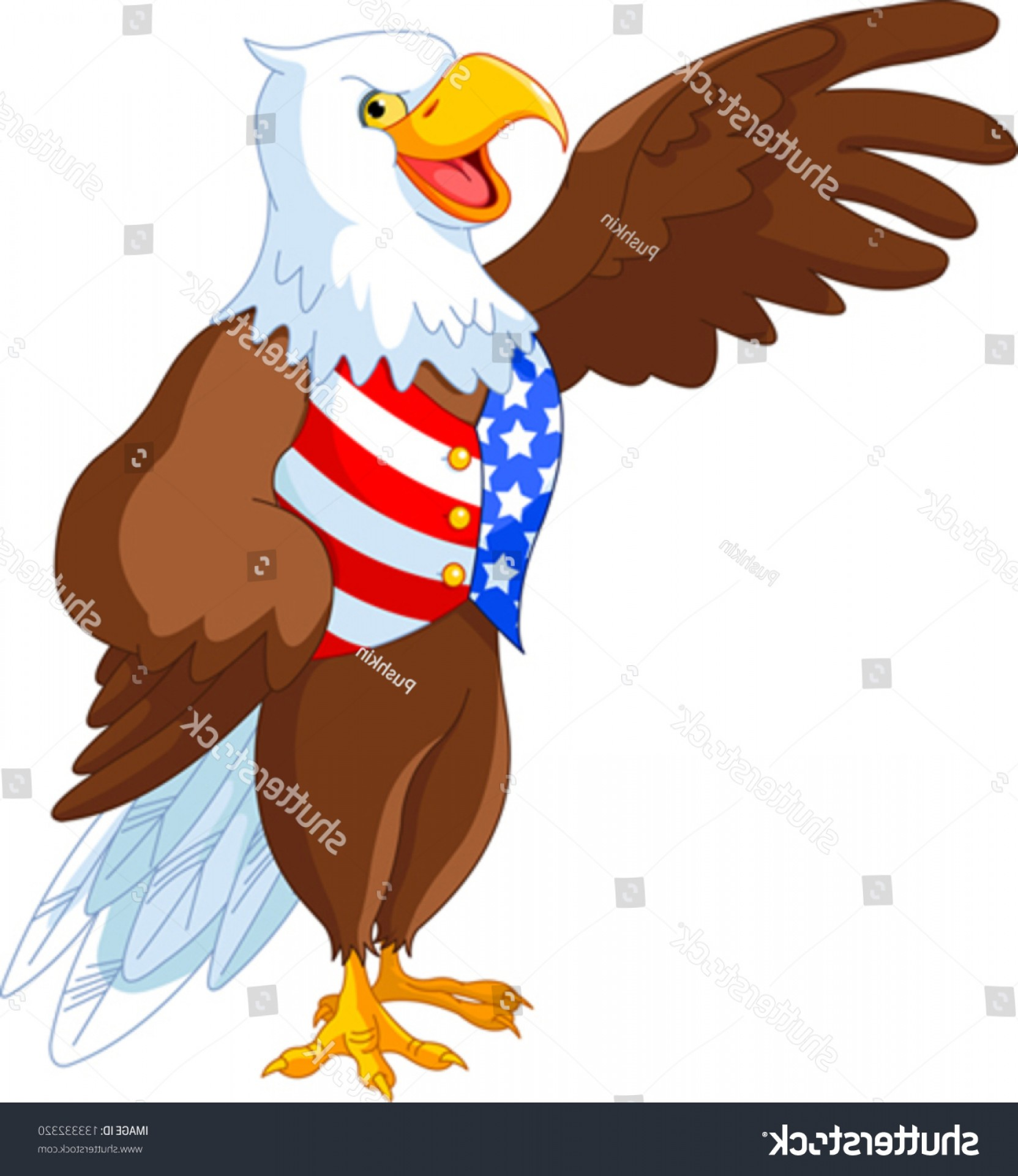 Patriotic Bald Eagle Vector: Patriotic American Bald Eagle Presenting