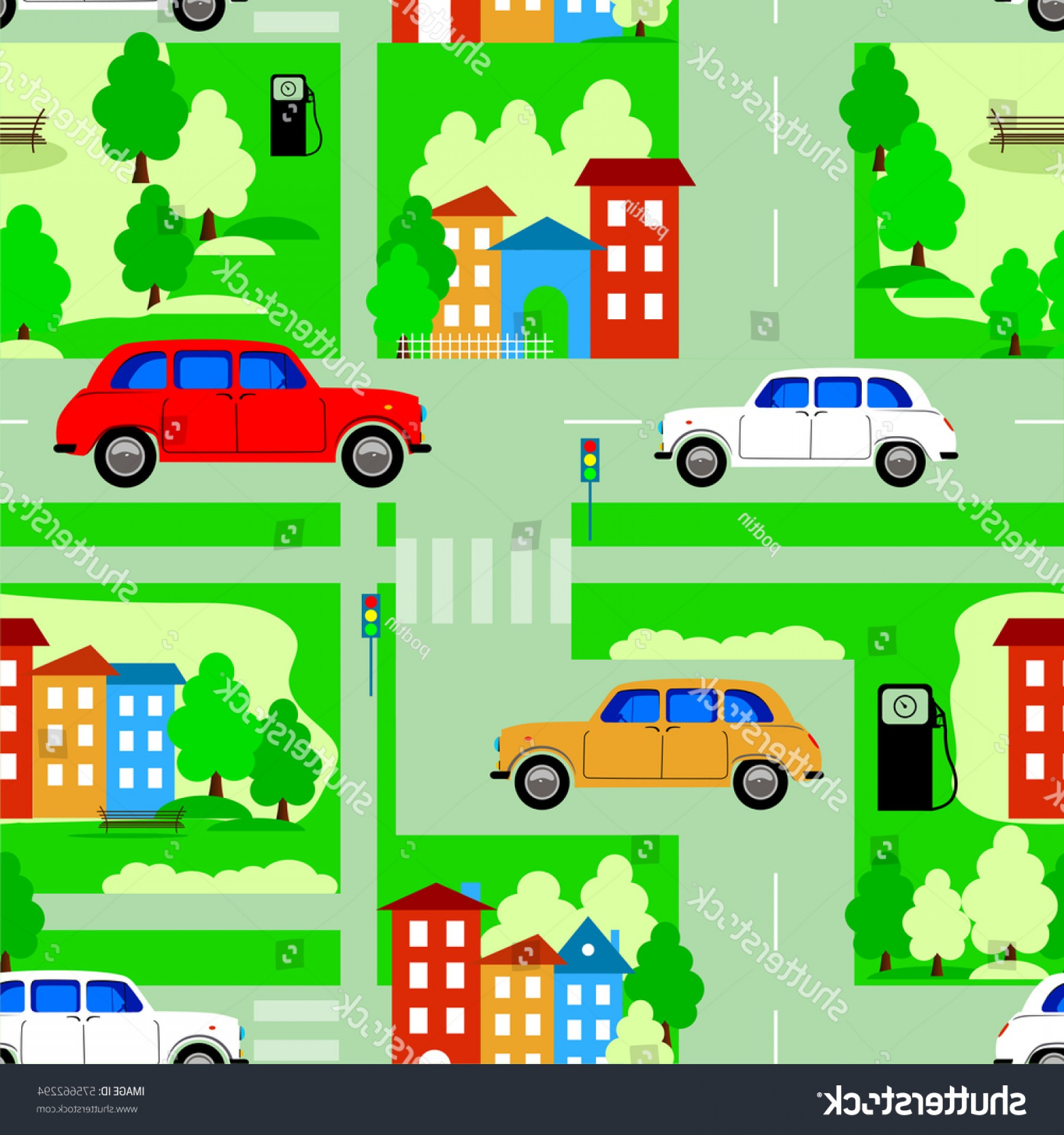 Vector Images Of Cars On Streets: Pattern City Streets Road Cars Houses