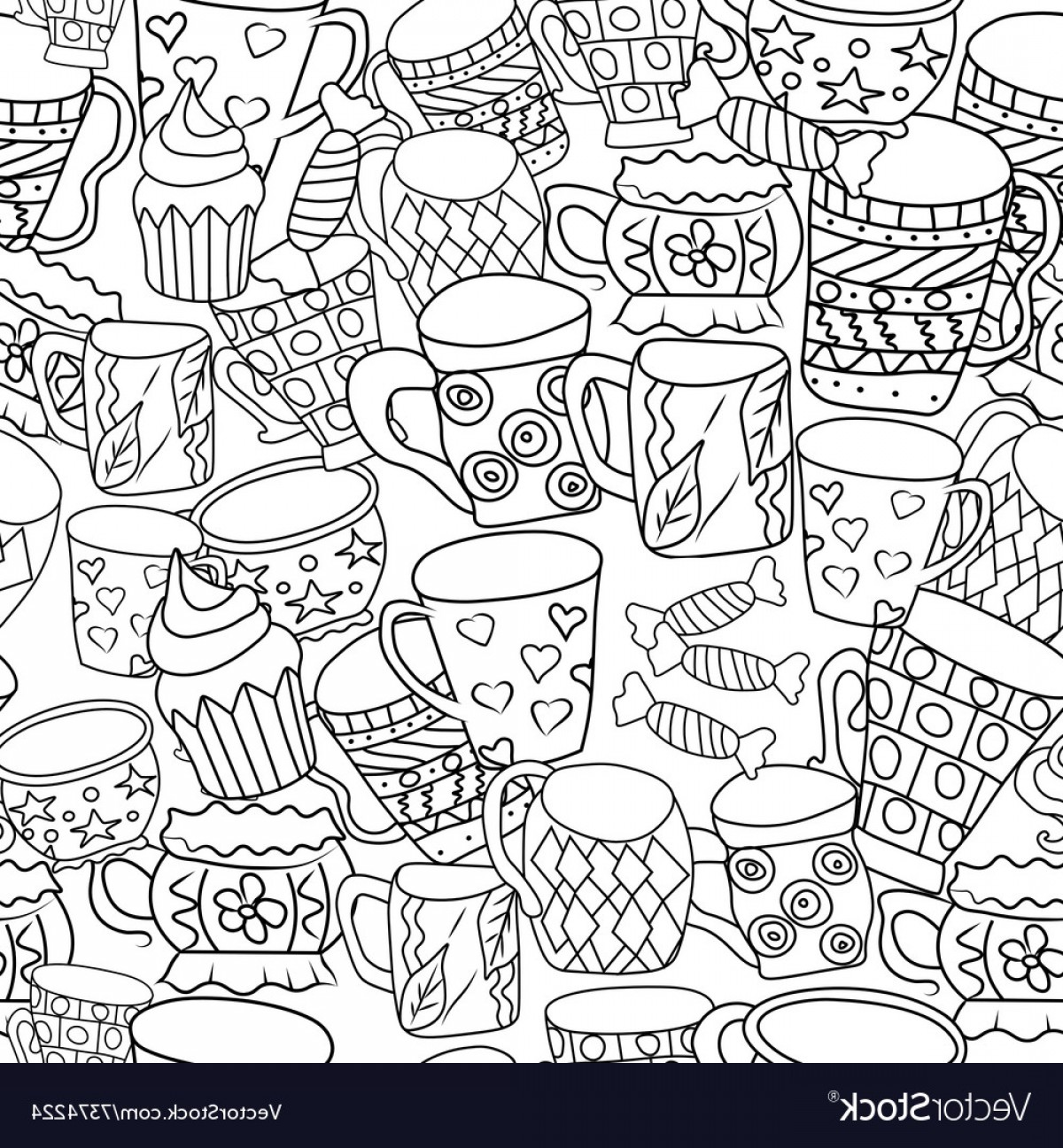 Zentangle Vector: Pattern With Cups And Mugs Hand Drawn Zentangle Vector