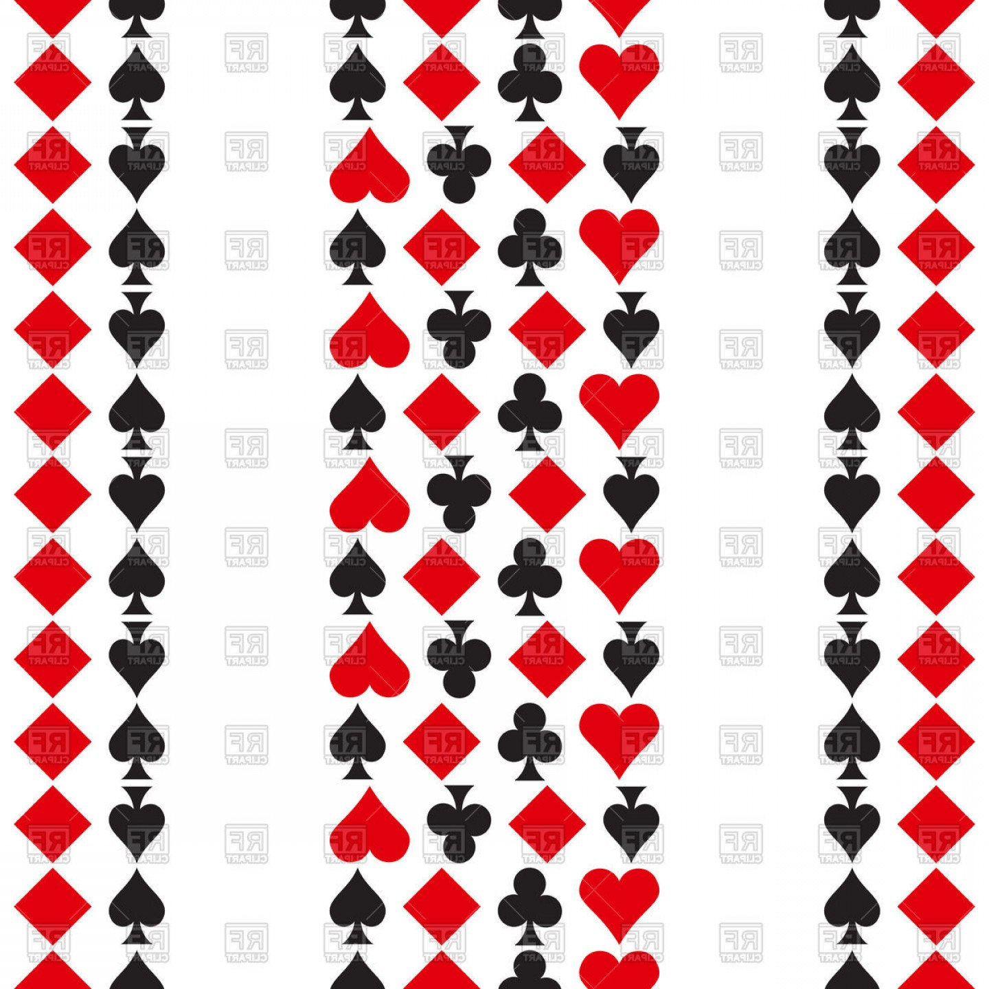 Playing Card Design Vector Illustration: Pattern With Playing Cards Symbols Vector Clipart