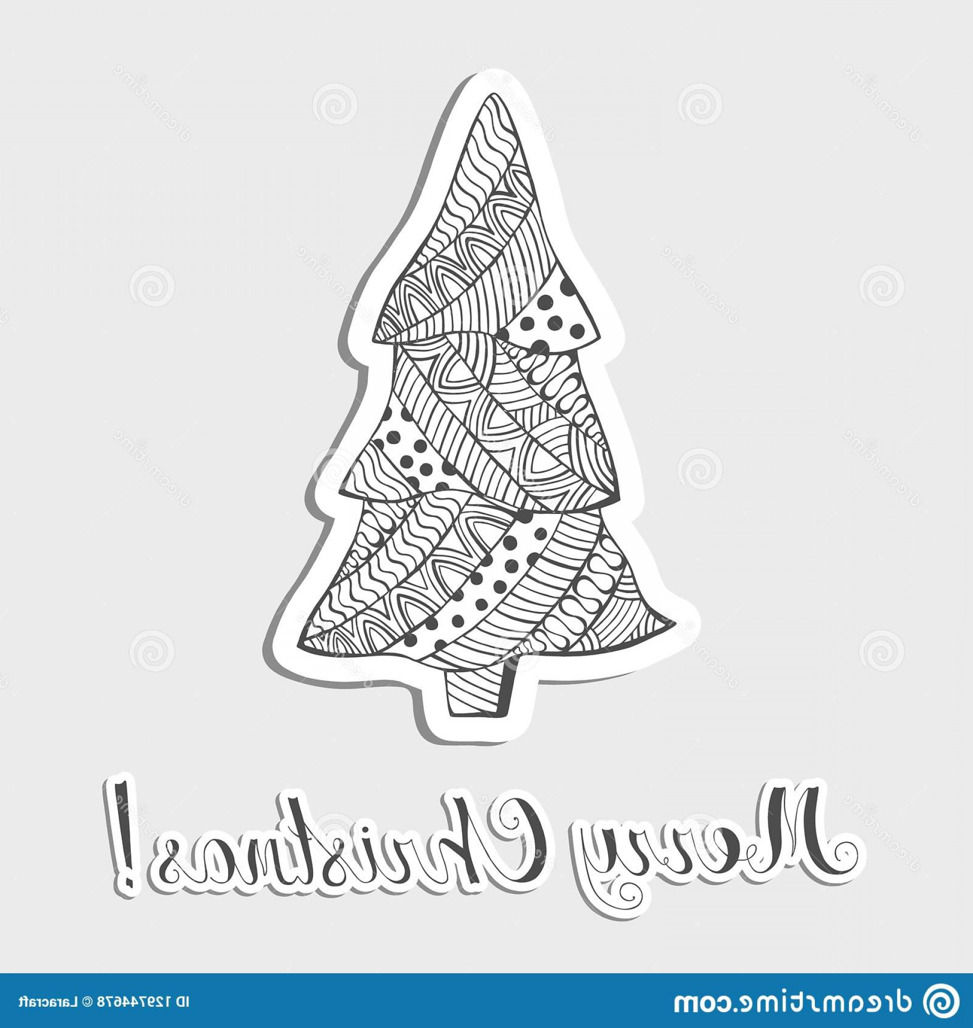 Vector-Based Grayscale Christmas: Patterned Grayscale Christmas Tree Made As Sticker Lettering Stickers Paper Carving Boho Zentangle Doodle Style Pattern Image