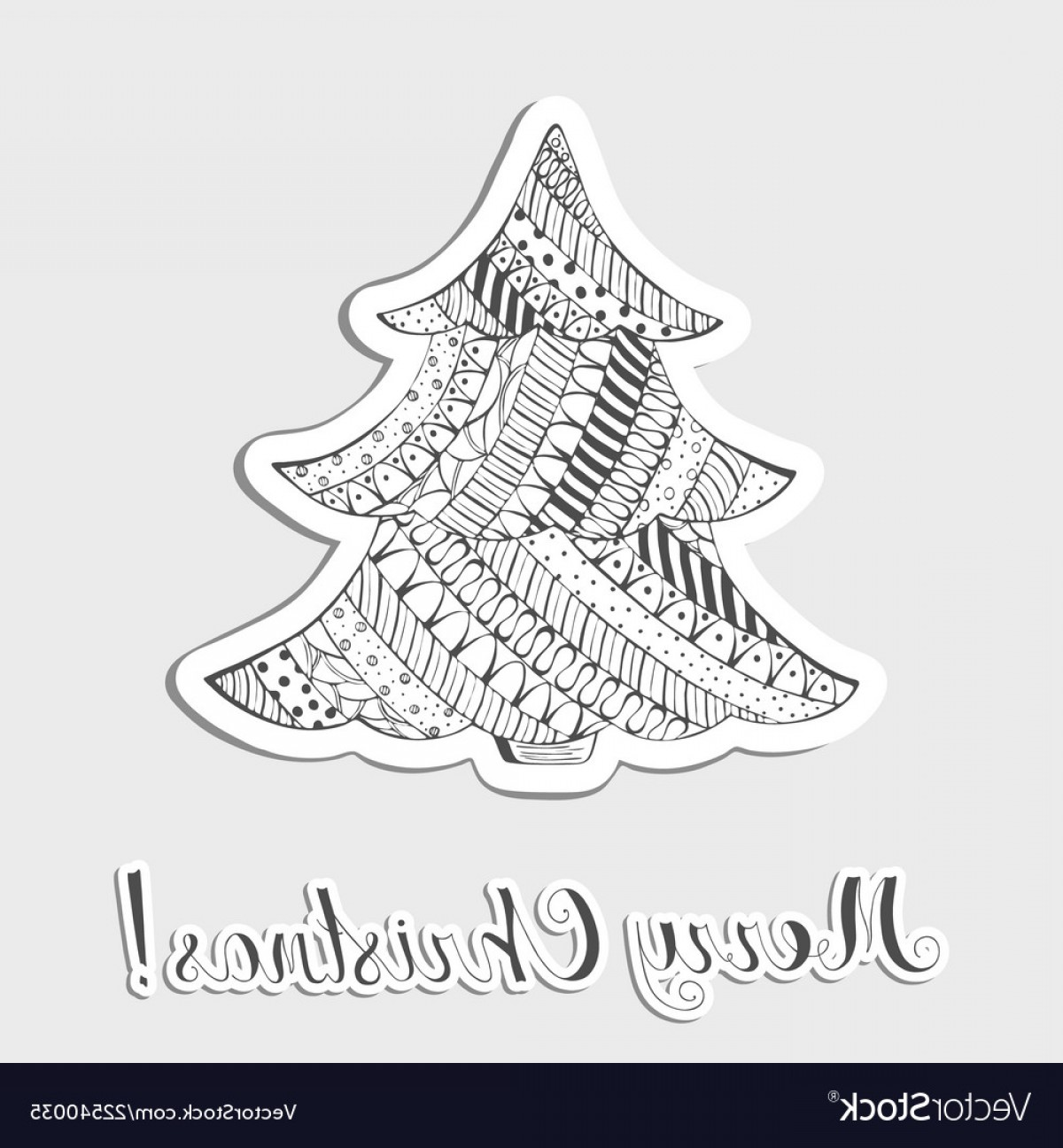 Vector-Based Grayscale Christmas: Patterned Grayscale Christmas Tree Made As Sticker Vector
