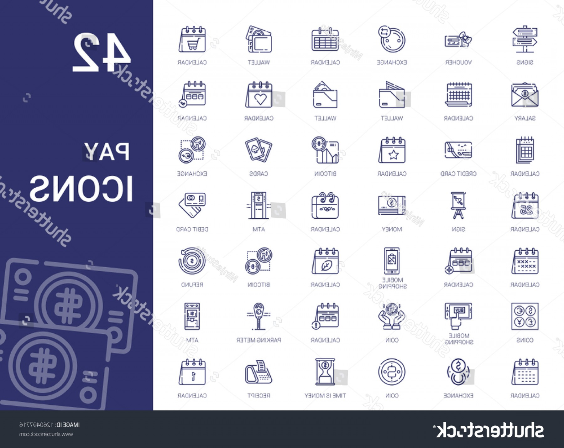Vector Marketing Salary: Pay Icons Set Collection Signs Voucher