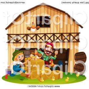 Barn Clip Art Vector: Pair Of Farmers With Chickens At A Barn