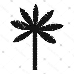 Simple Palm Tree Vector: Palm Tree Icon Simple Illustration Vector