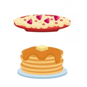 Berry Pancake Clip Art Vector: Pancakes With Fresh Blueberries And Maple Syrup Vector