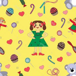 Girls Vector Art Wallpaper: Pattern Baby Girl Wallpaper In The Center Image