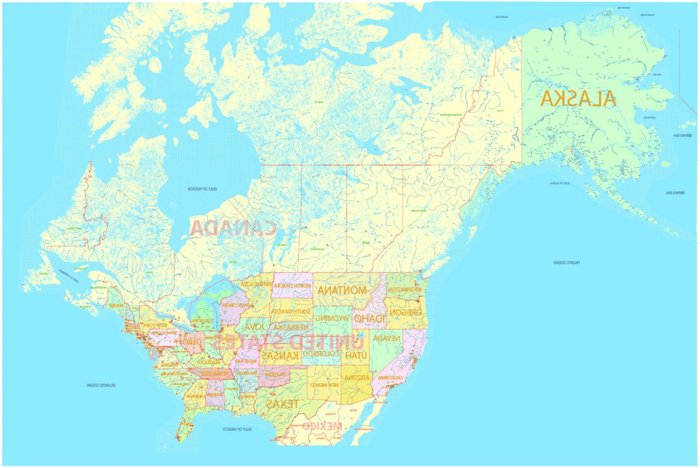Map Of Canada With City Names.Vector Us And Canada Createmepink