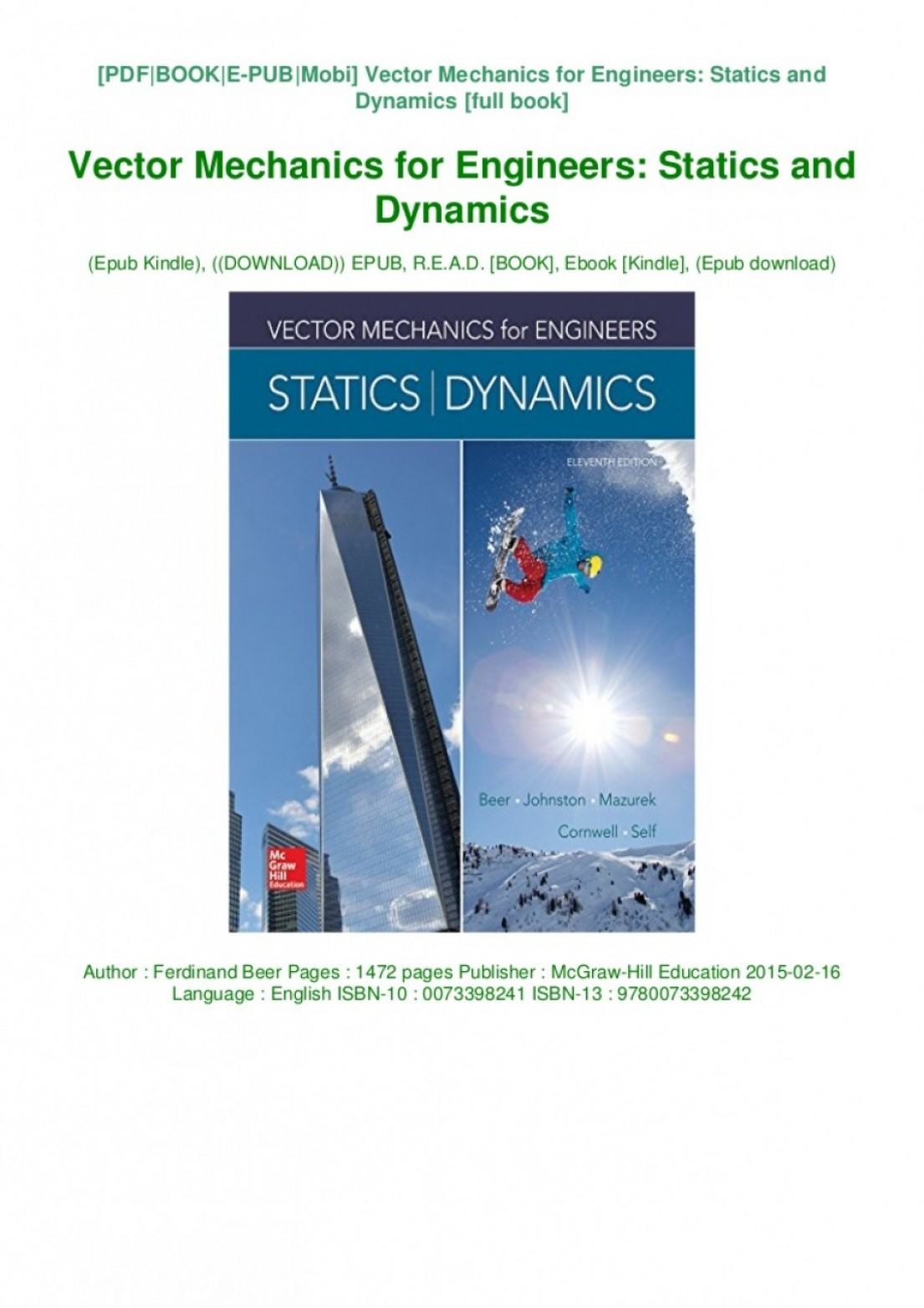 Vector Mechanics For Engineers Dynamics: Pdf Vector Mechanics For Engineers Statics And Dynamics Epub Ferdinand Beer