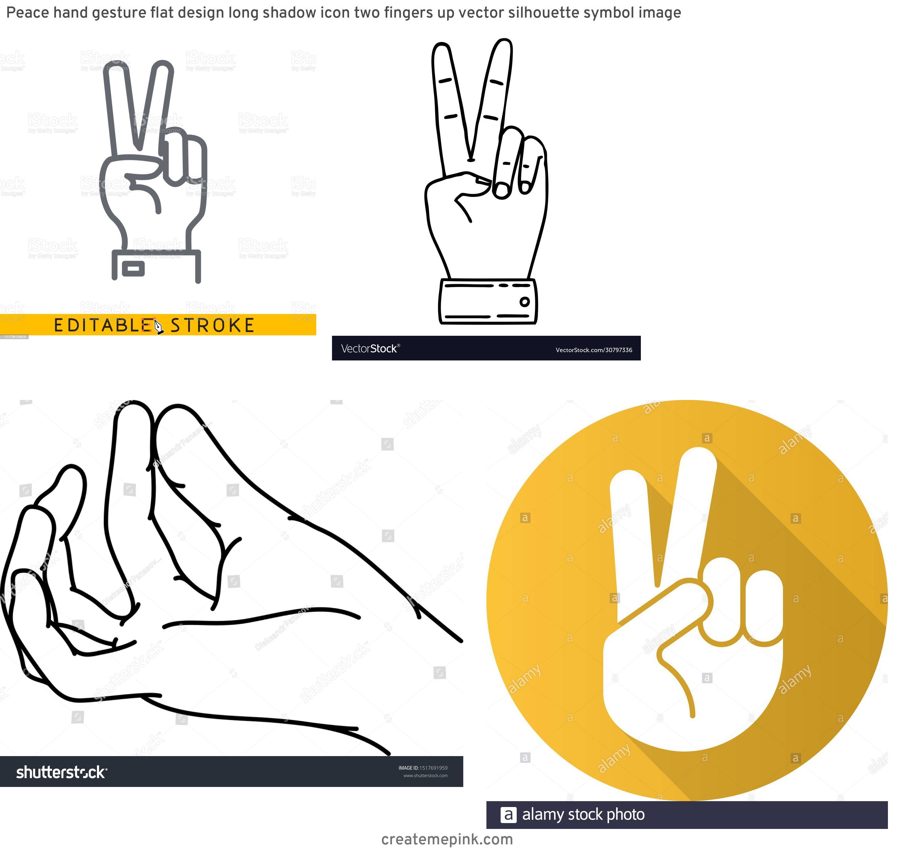 Two Finger Vector: Peace Hand Gesture Flat Design Long Shadow Icon Two Fingers Up Vector Silhouette Symbol Image