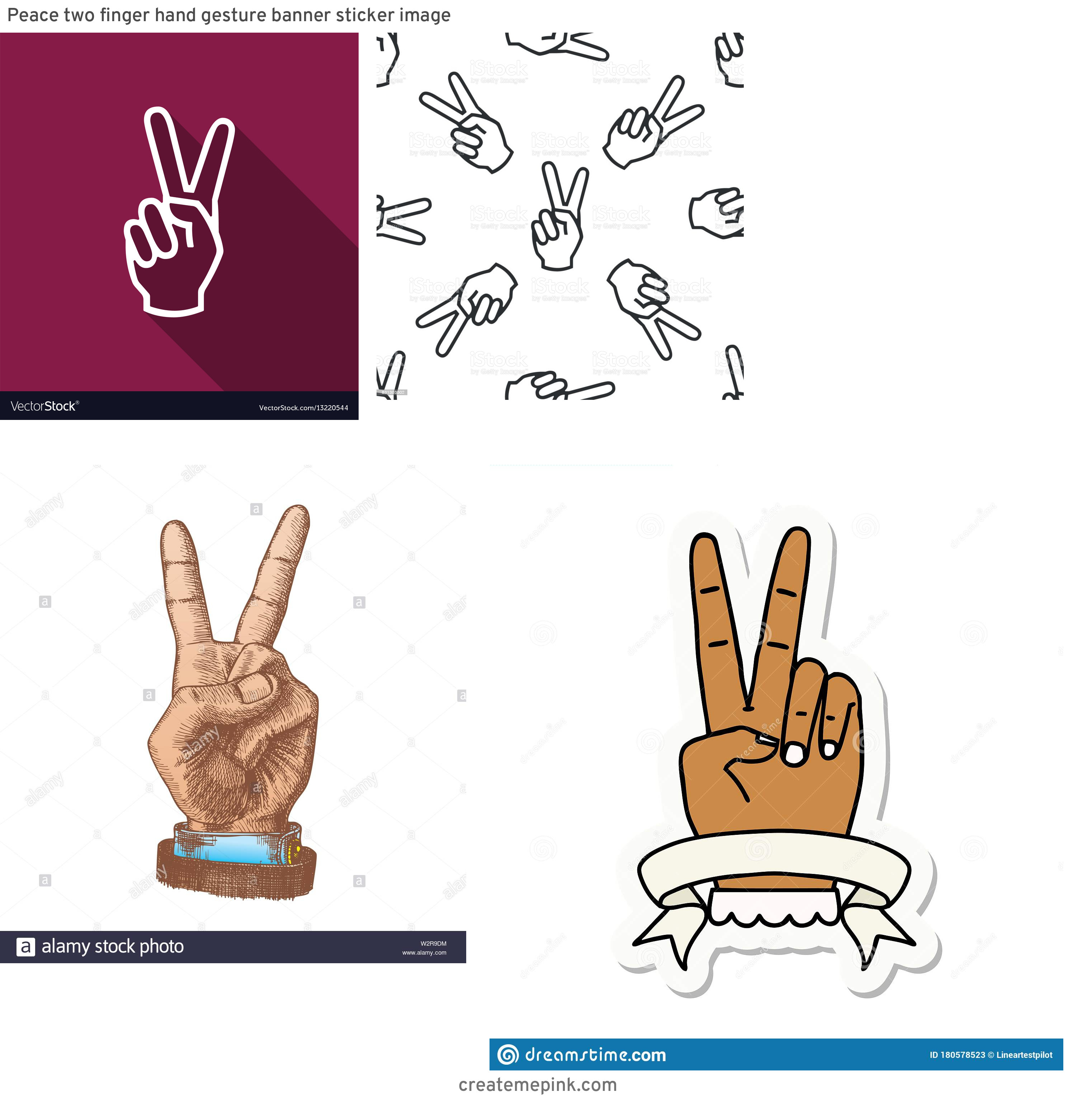 Two Finger Vector: Peace Two Finger Hand Gesture Banner Sticker Image
