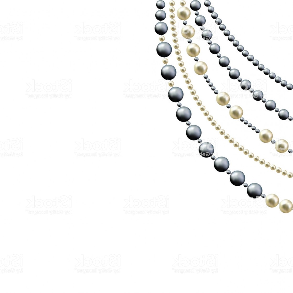Pearl Necklace Vector Clip Art: Pearl Jewelry Beads Decoration Abstract Vector Background Luxury The Black White Gm