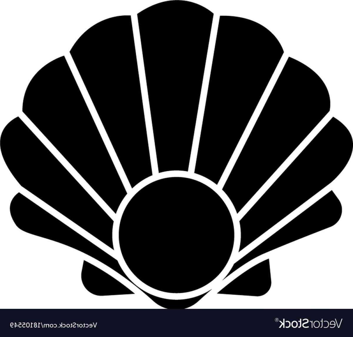 Shell Vector Icons: Pearl Shell Icon Black Sign Vector