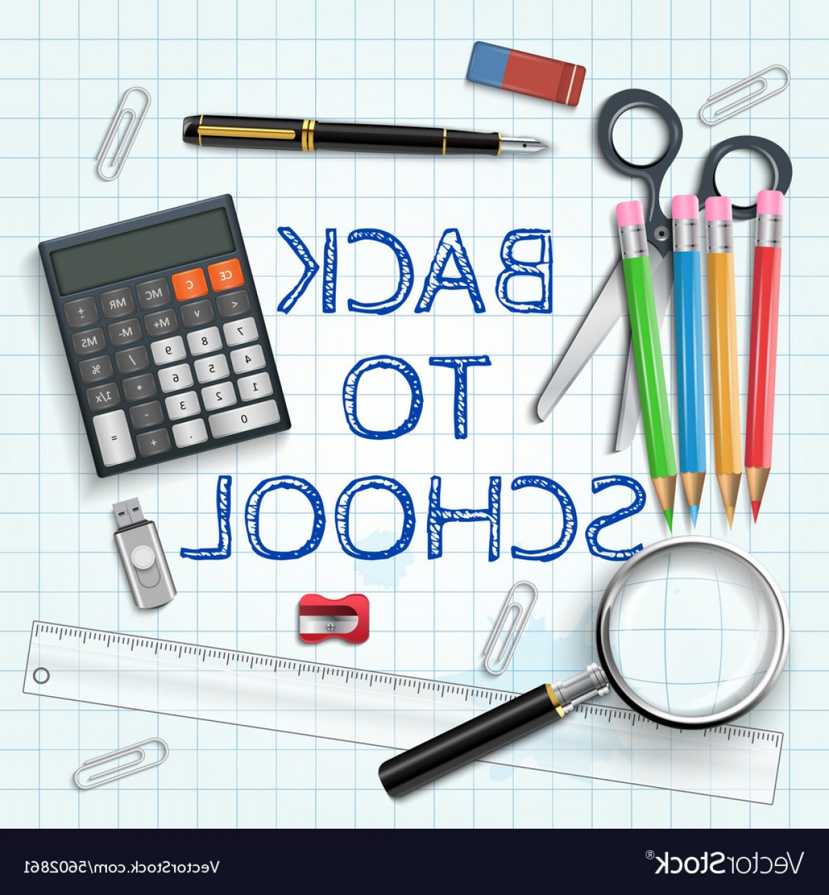 Individual School Supplies Vector: Pen Calculator And Other School Supplies Vector