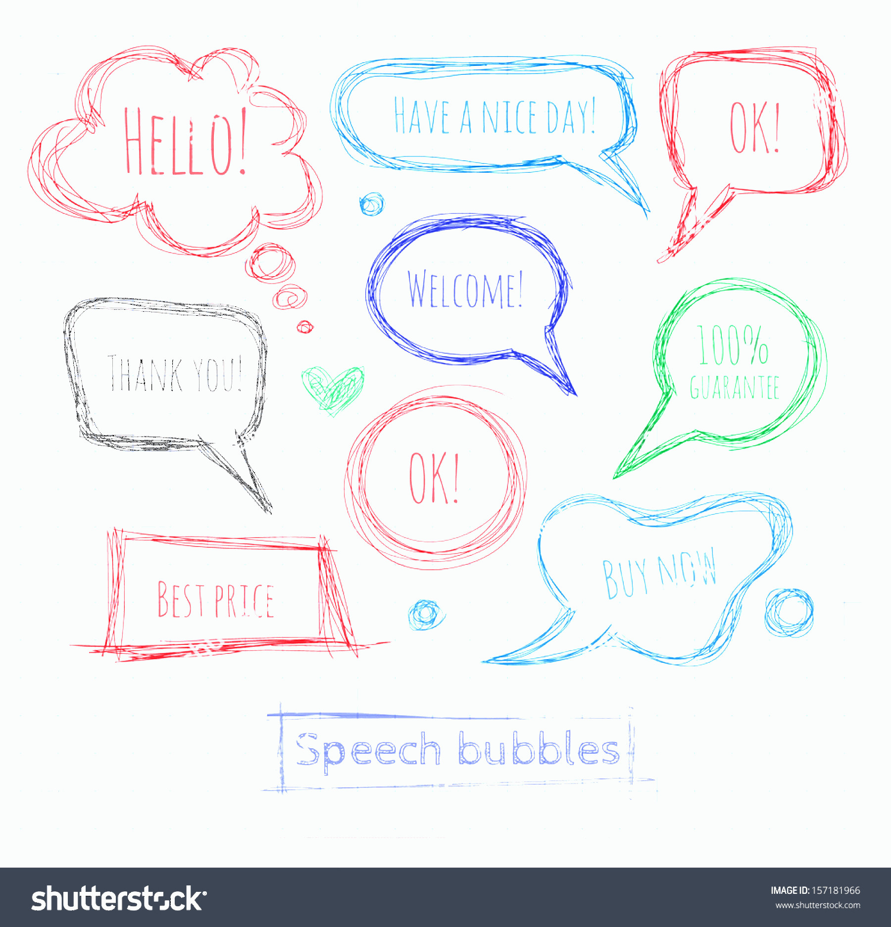 Thought Bubble Vector Sketch: Pen Sketch Speech Thought Bubbles Vector