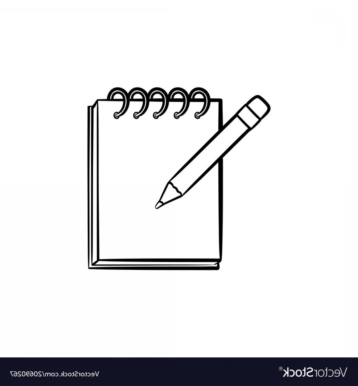 Notepad Writing Hand Vector: Pencil And Notepad With Binders Hand Drawn Icon Vector