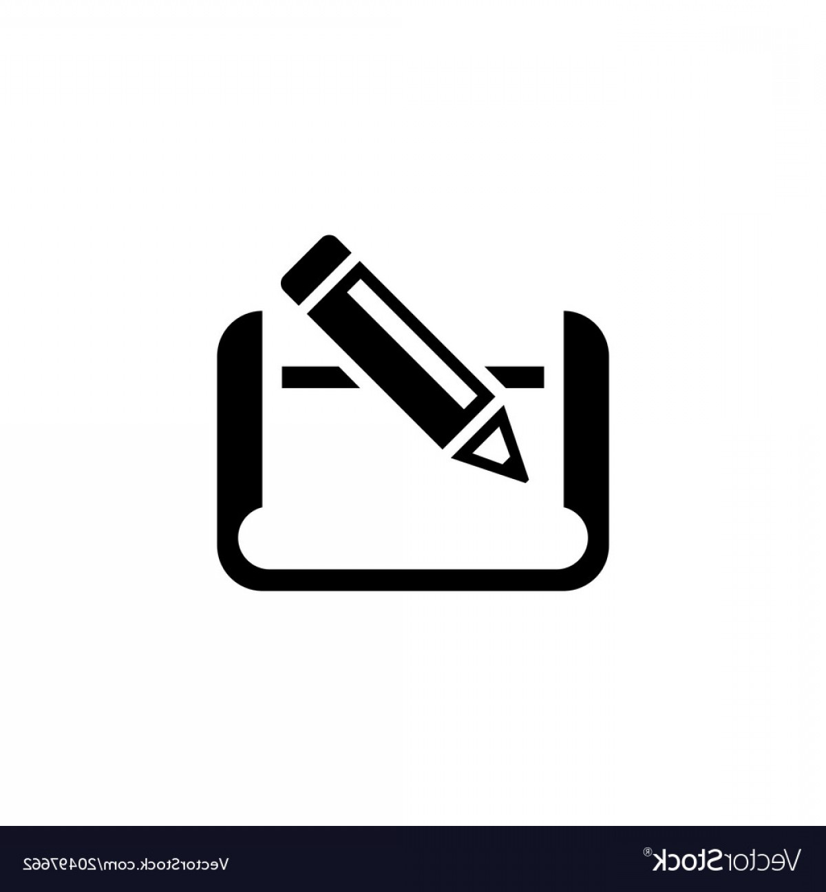 Paper And Pencil Icon Vector: Pencil And Paper Flat Icon Vector