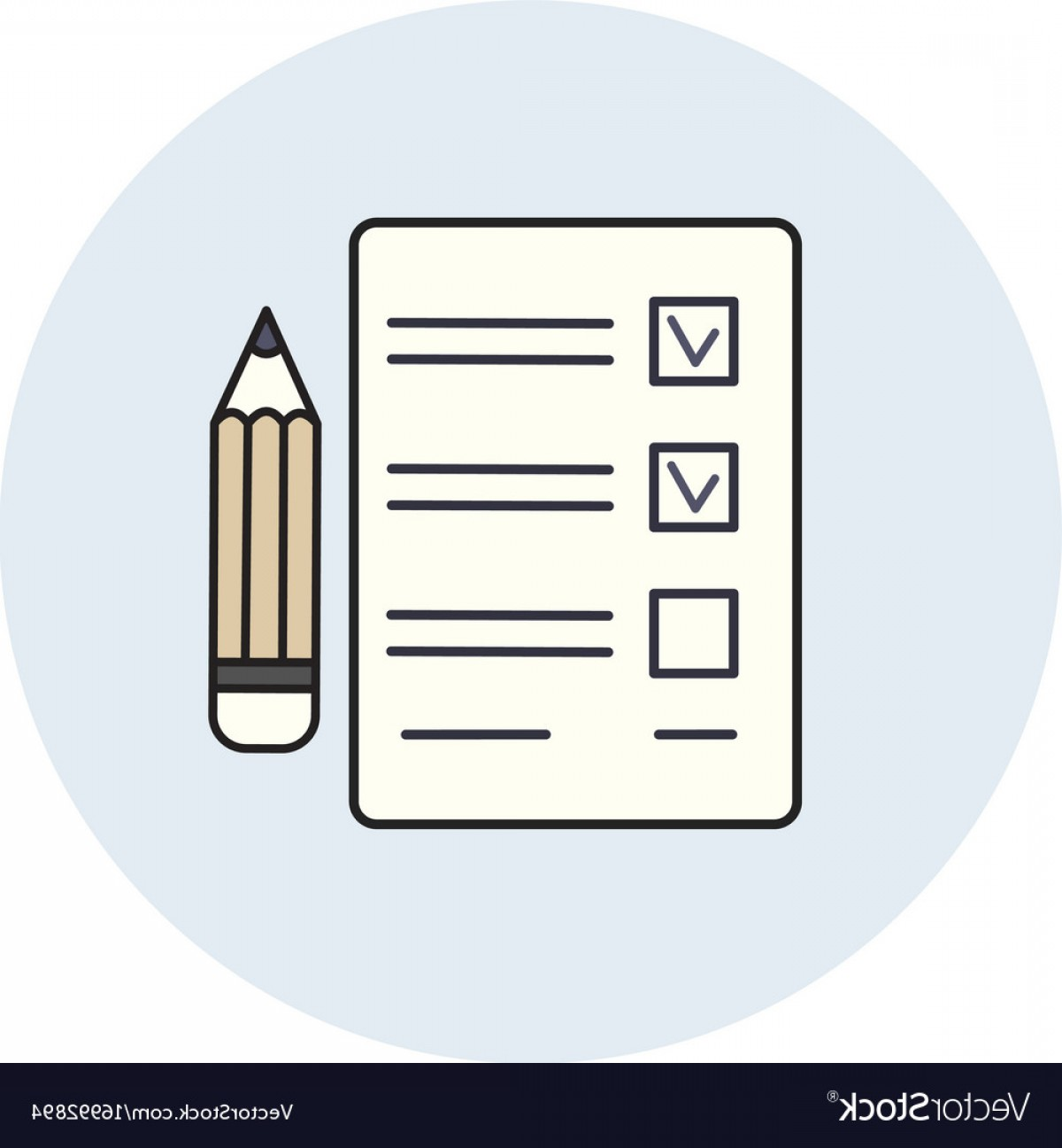 Paper And Pencil Icon Vector: Pencil And Paper Icon Check List Exam Test Vector