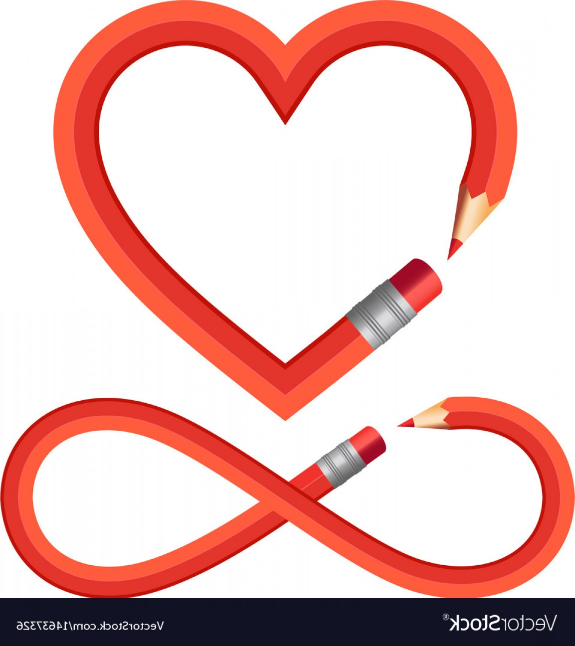 Infinity Grunge Heart Vector: Pencil Heart And Infinity Sign Set Pencil Heart Vector