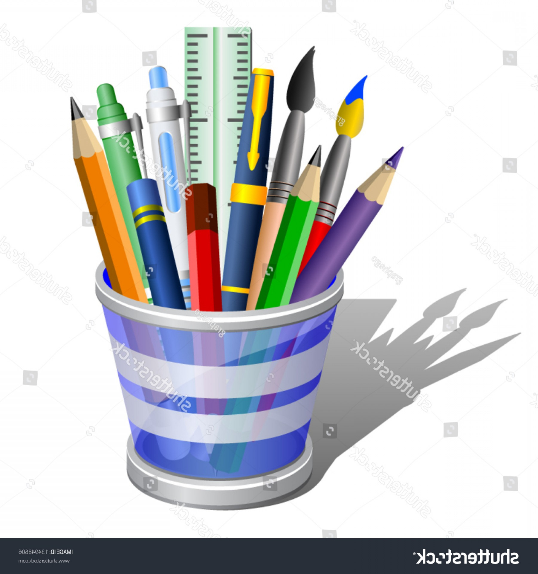 Vector Pencil Holder: Pencil Holder Accessories School Supplies Icon