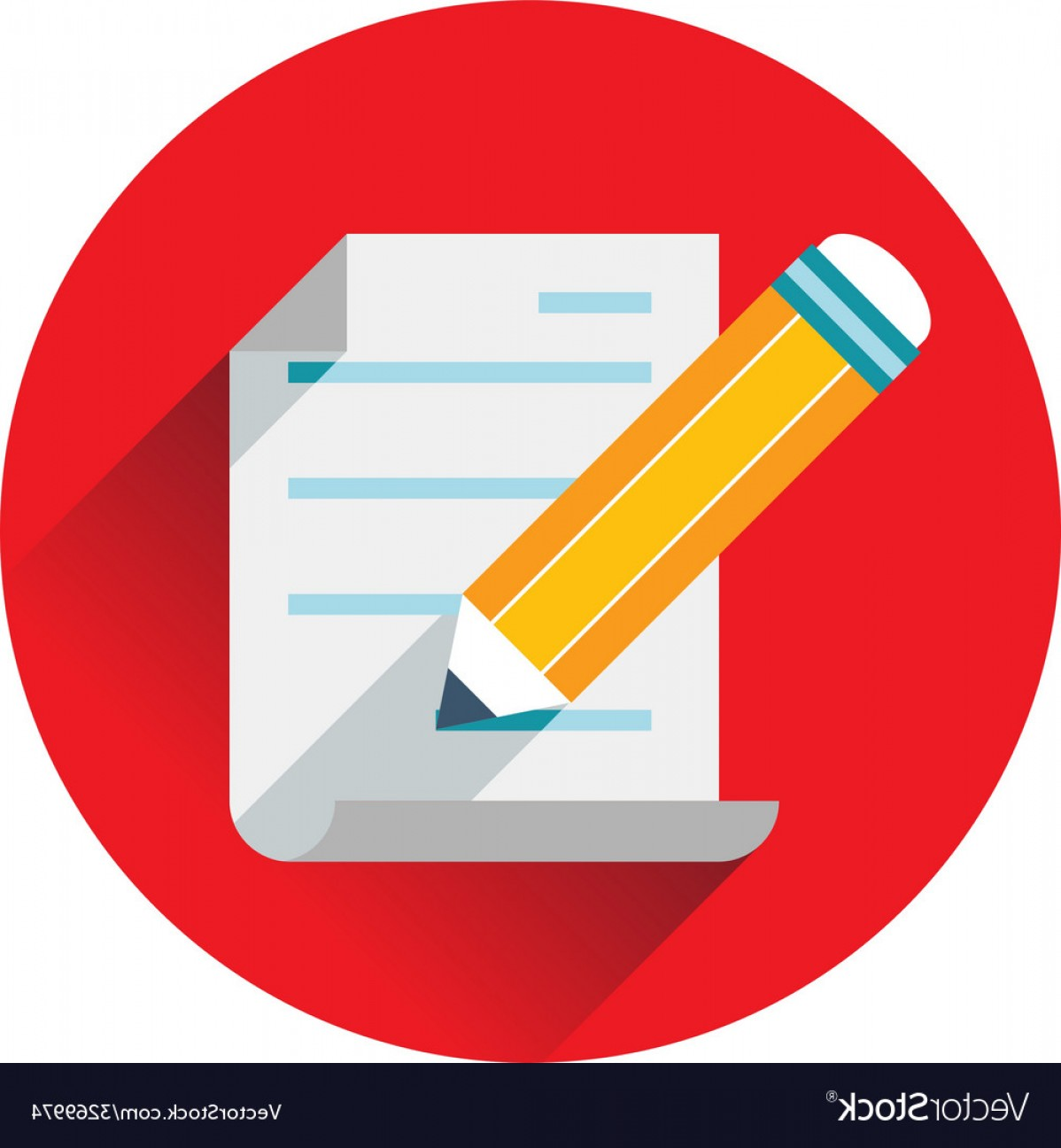 Paper And Pencil Icon Vector: Pencil Writing Text On Paper Icon Vector