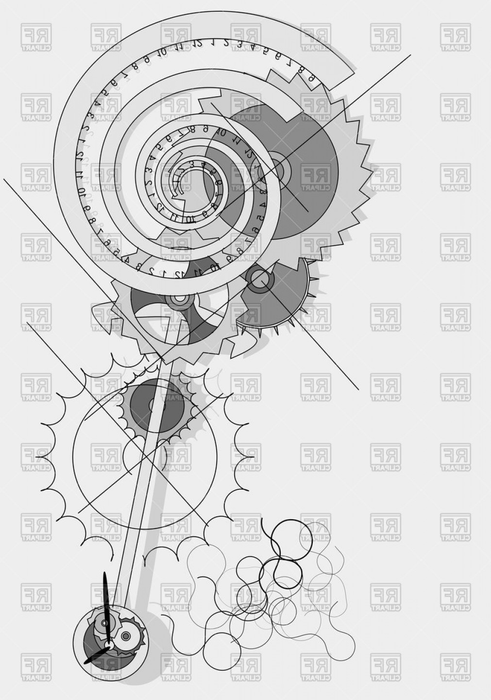Watch Gears Vector: Pendulum Concept Abstract Clock Mechanism With Gears Vector Clipart
