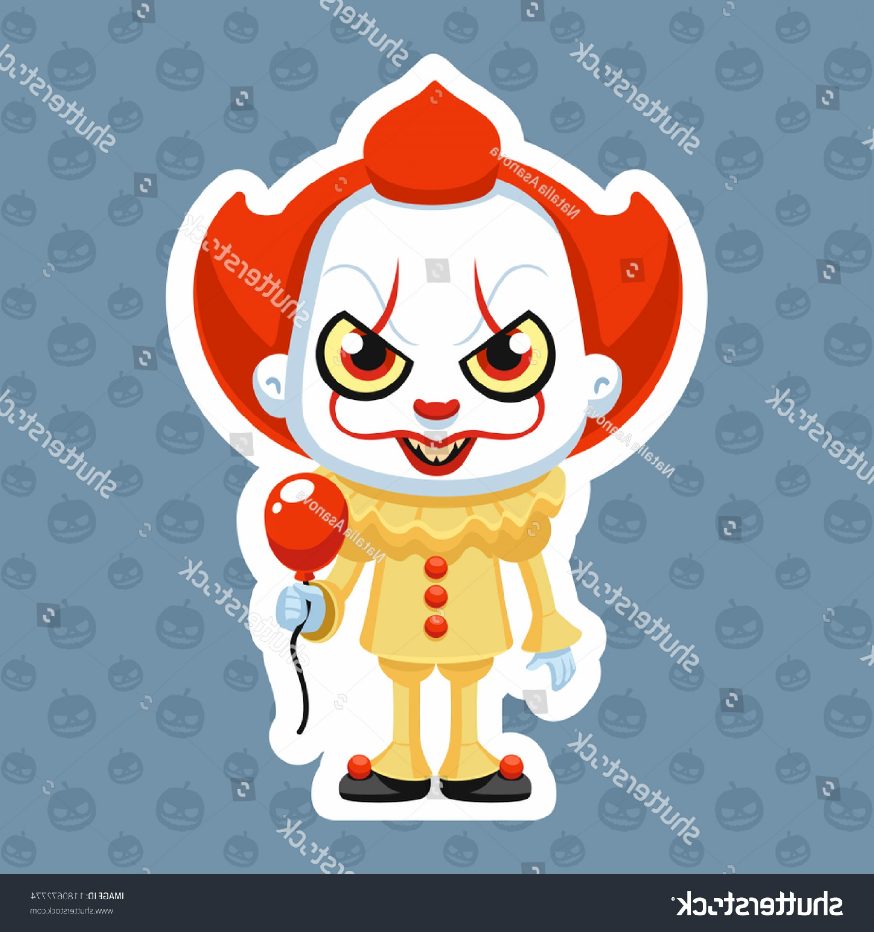 Pennywise Clown Vector: Pennywise Vector Illustration Clown Halloween Costume