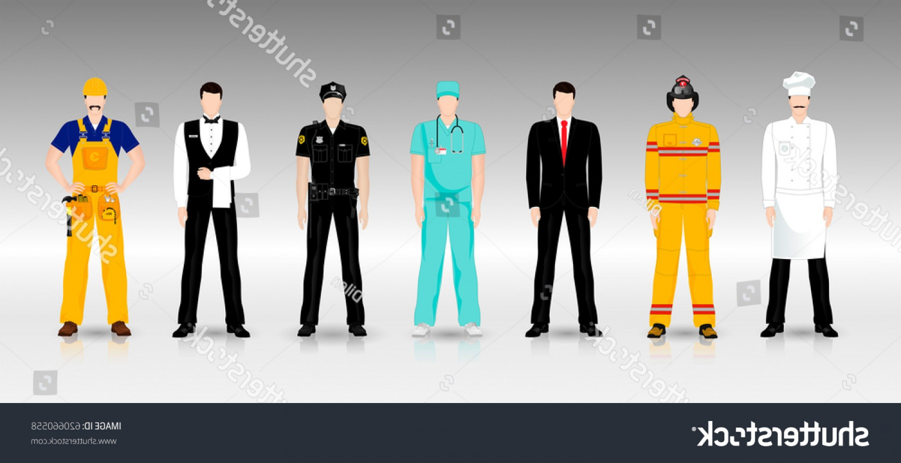 Growth Vector People: People Different Professions Working Clothes Full