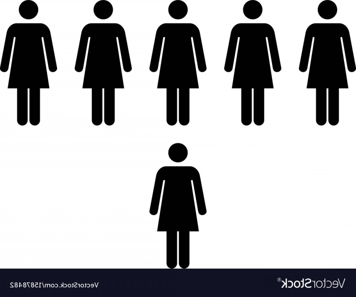 Expanding Population Icon Vector: People Icon Group Of Women Team Pictogram Symbol Vector