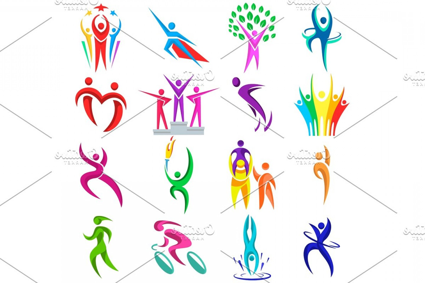Sport Vector Art Games: People Logo Sport Vector Fitness Logotype Sportsman Winner And Competition Icons Illustration Isolated People Silhouette On Whit