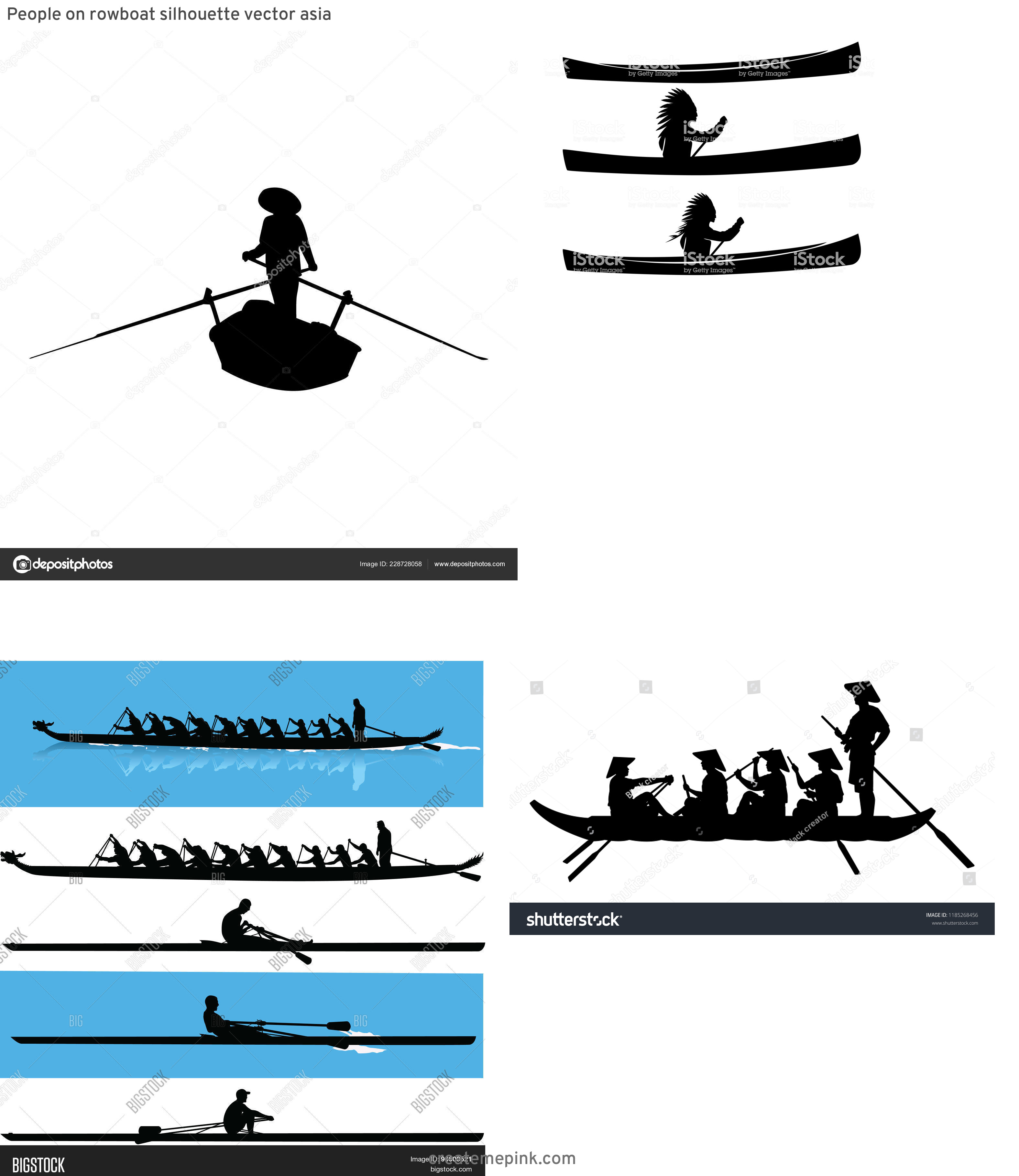 Row Boat Vector Sillohettes: People On Rowboat Silhouette Vector Asia
