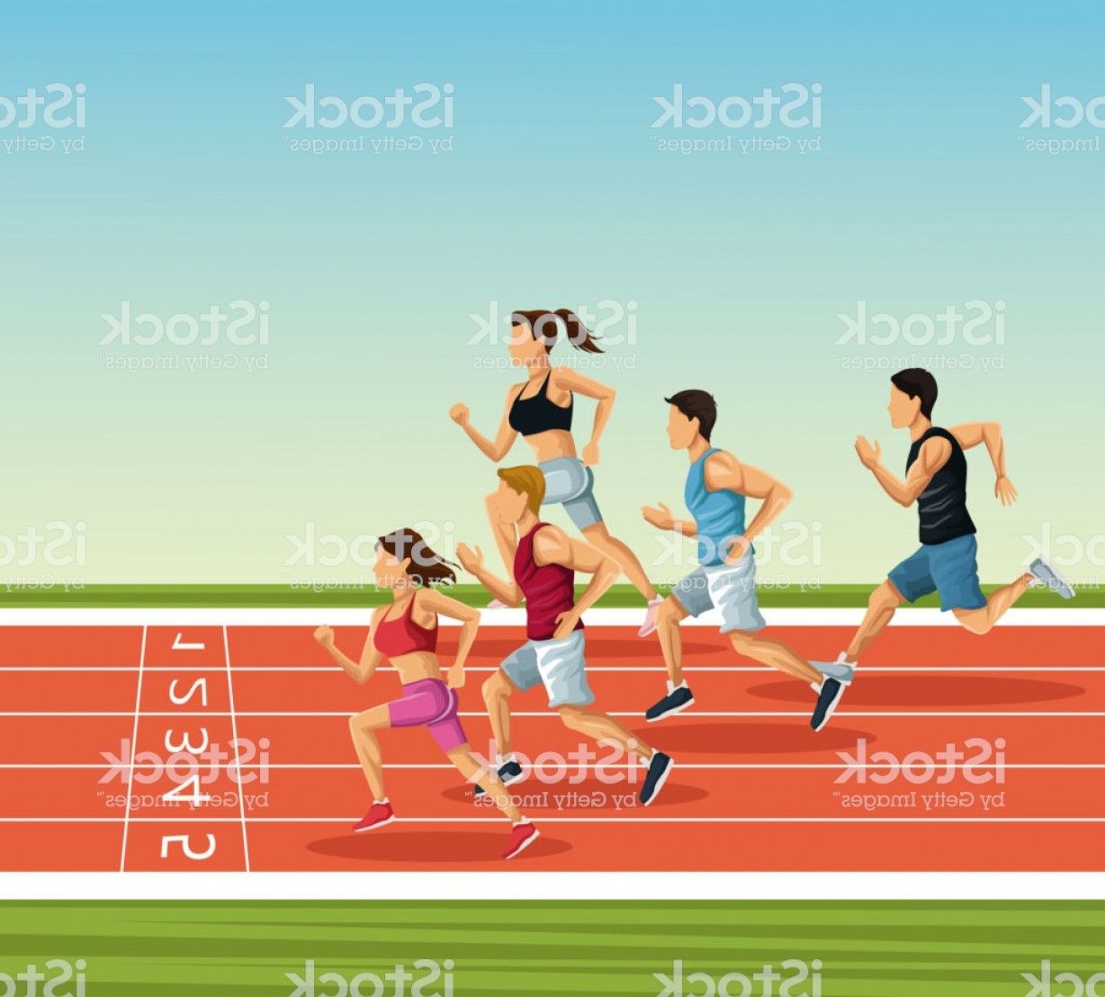 Vector Silhouette Of Girl Running Track: People On Running Track Gm