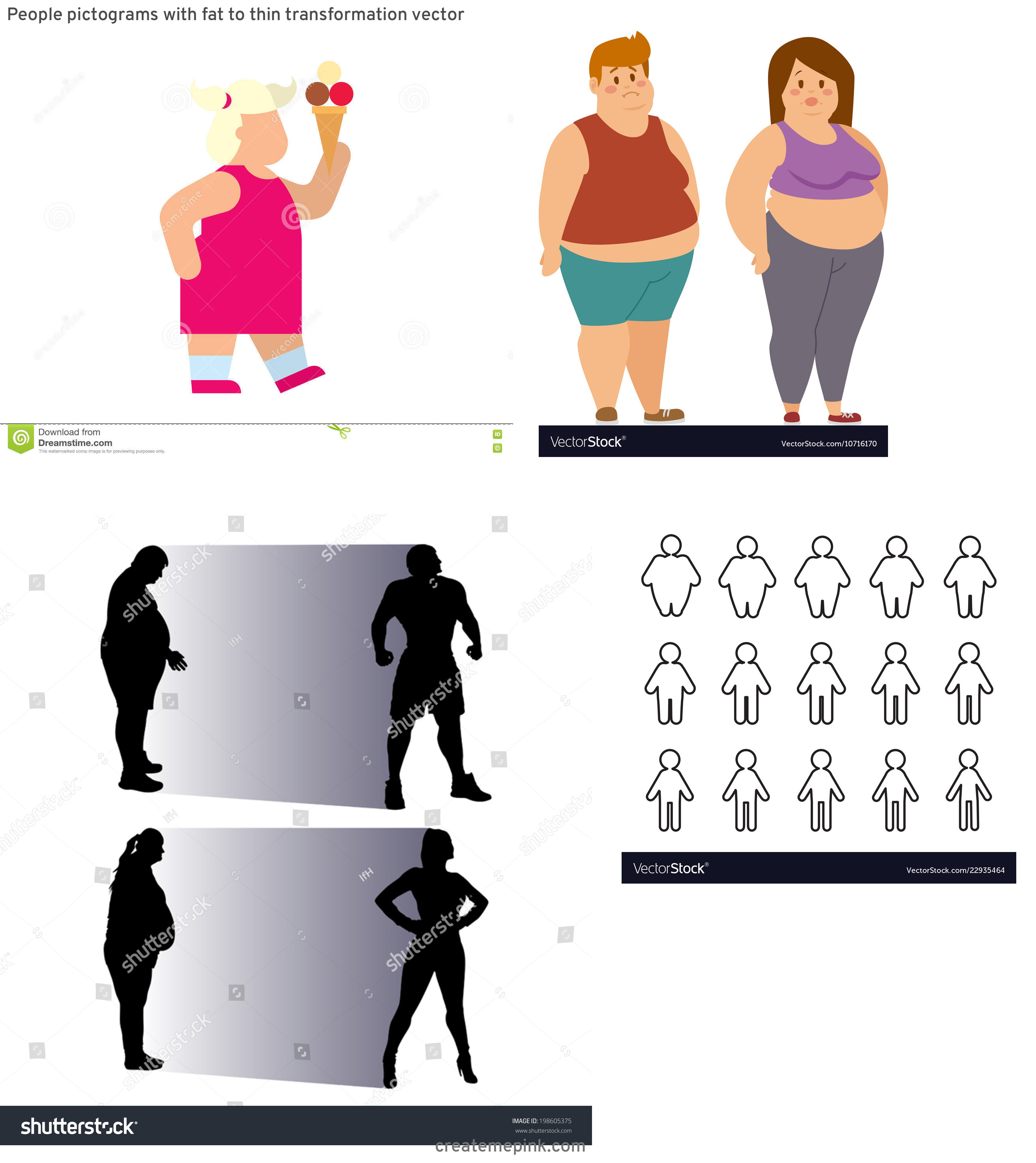 People Silhouette Vector Illustration Of Fat: People Pictograms With Fat To Thin Transformation Vector