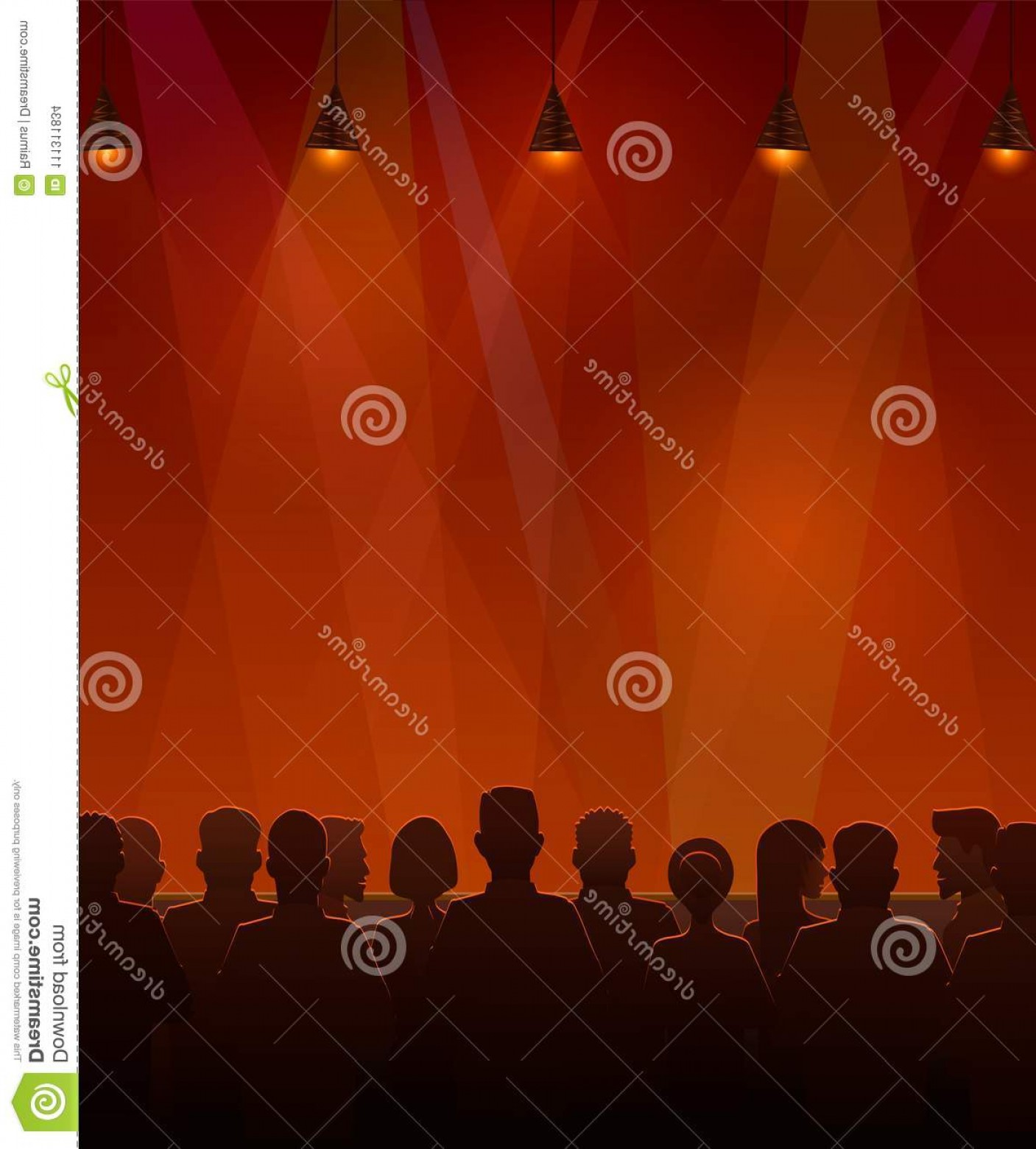 Vector Stage Audience: People Sitting Stage Vector Illustration Silhouettes Audience Image