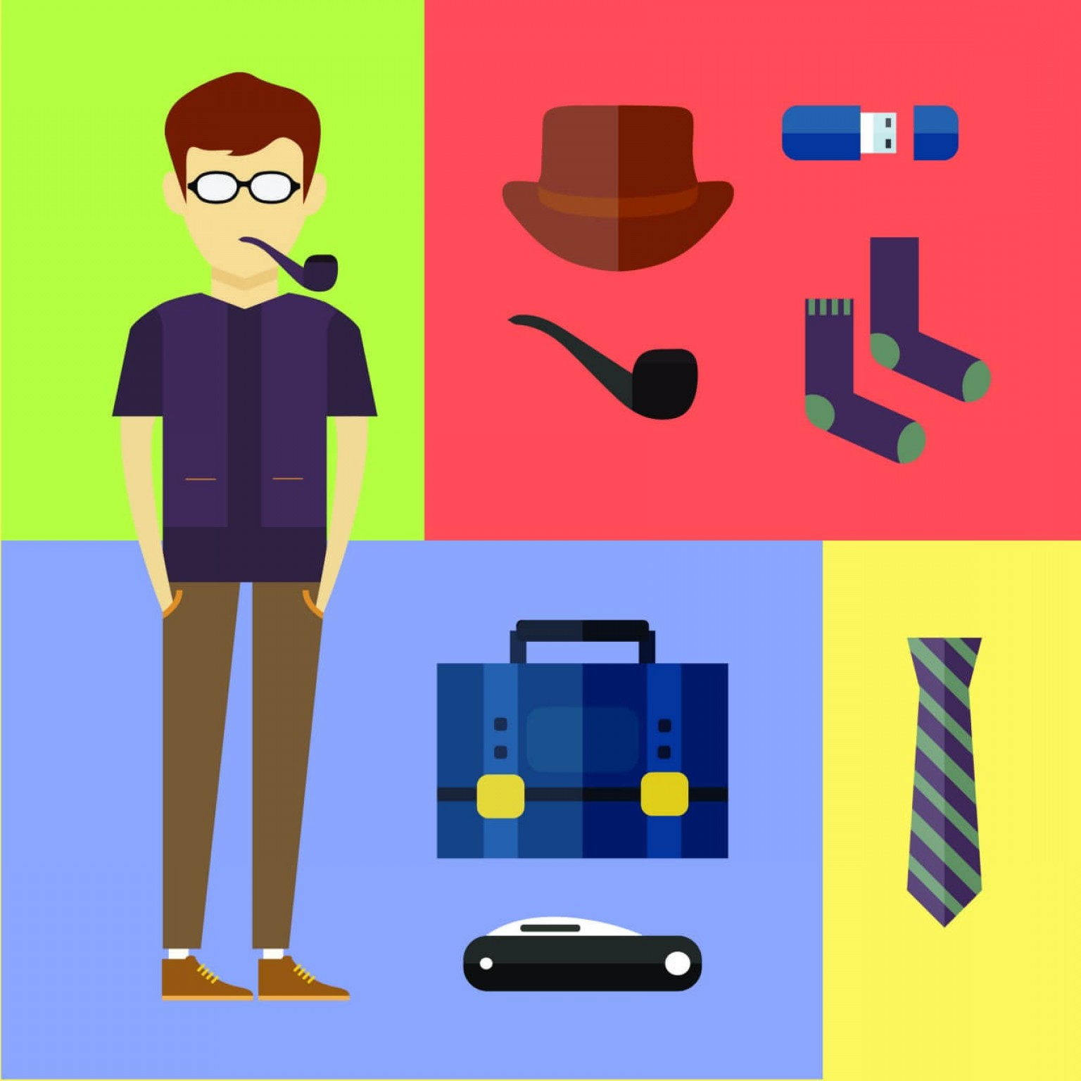 Vector People Free Clip Art: People Vector Hipster Character With Tools And Objects Free Illustration For Design