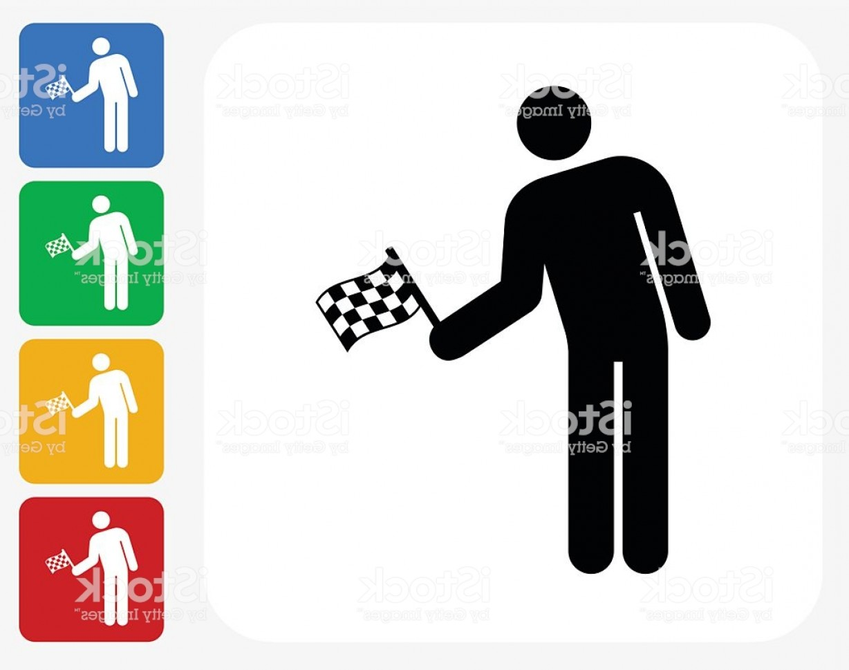 Vector Person Holding: Person Holding A Racing Flag Icon Flat Graphic Design Gm