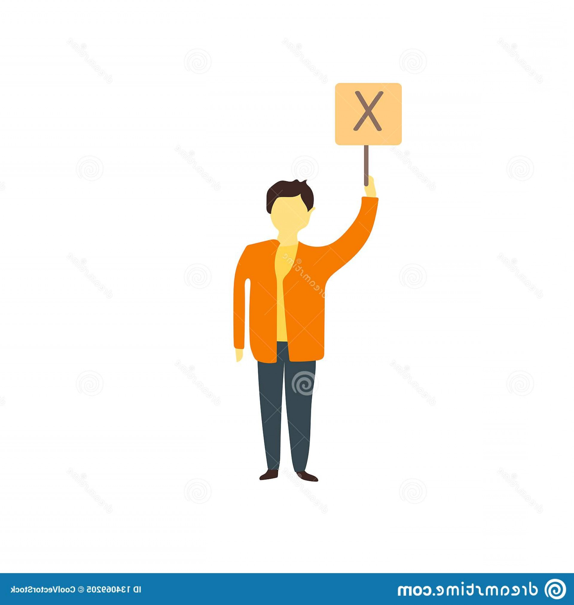 Vector Person Holding: Person Holding Message Vector Vector Isolated White Background Your Web Mobile App Design Person Holding Message Vector Image