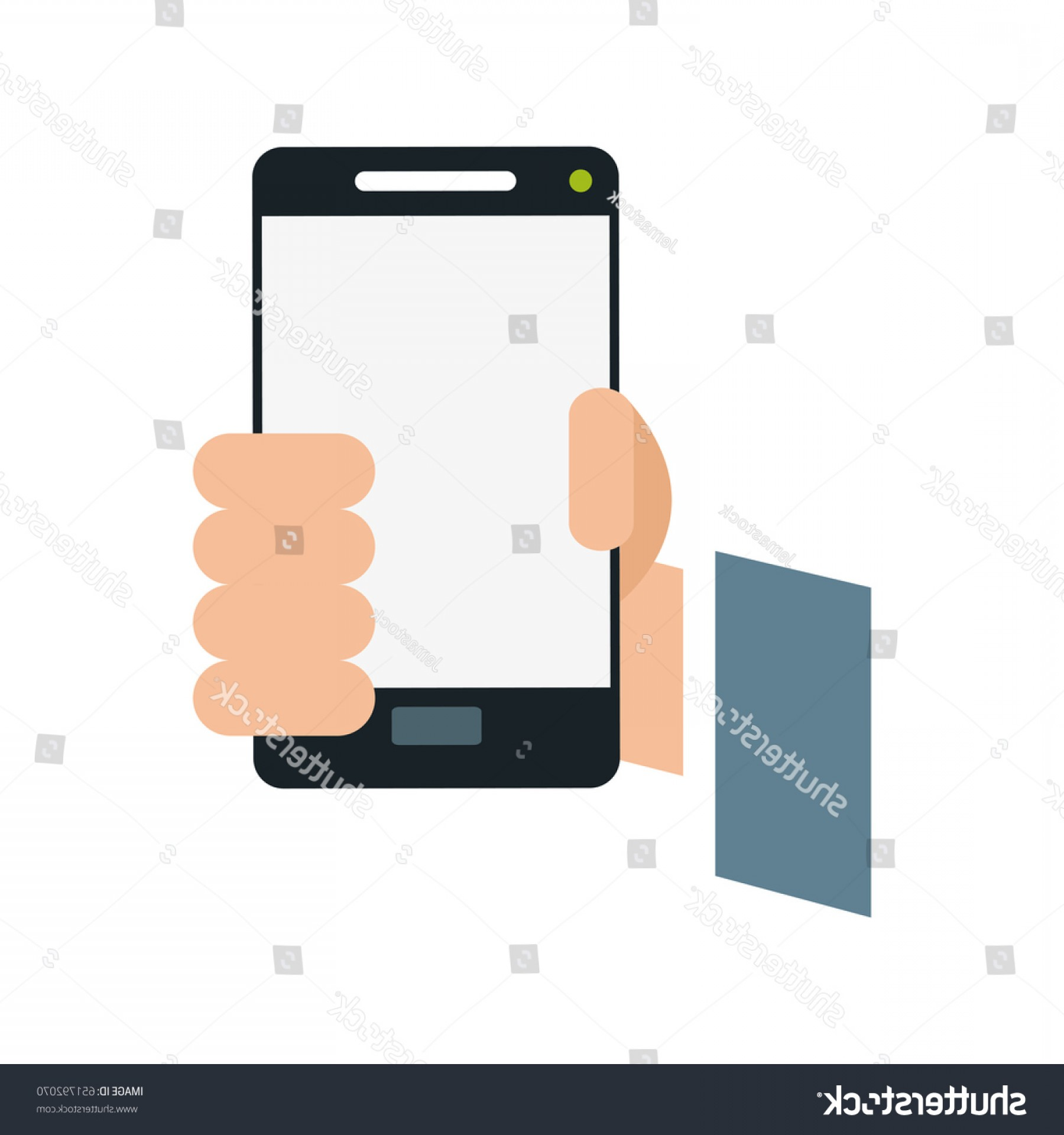 Vector Person Holding: Person Holding Smartphone Icon Image