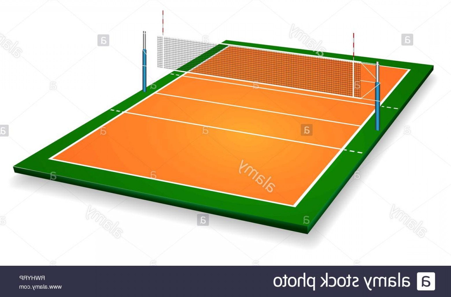 Perspective Vector: Perspective Vector Illustration Of Vollyball Field Court With Net Vector Eps Room For Copy Image