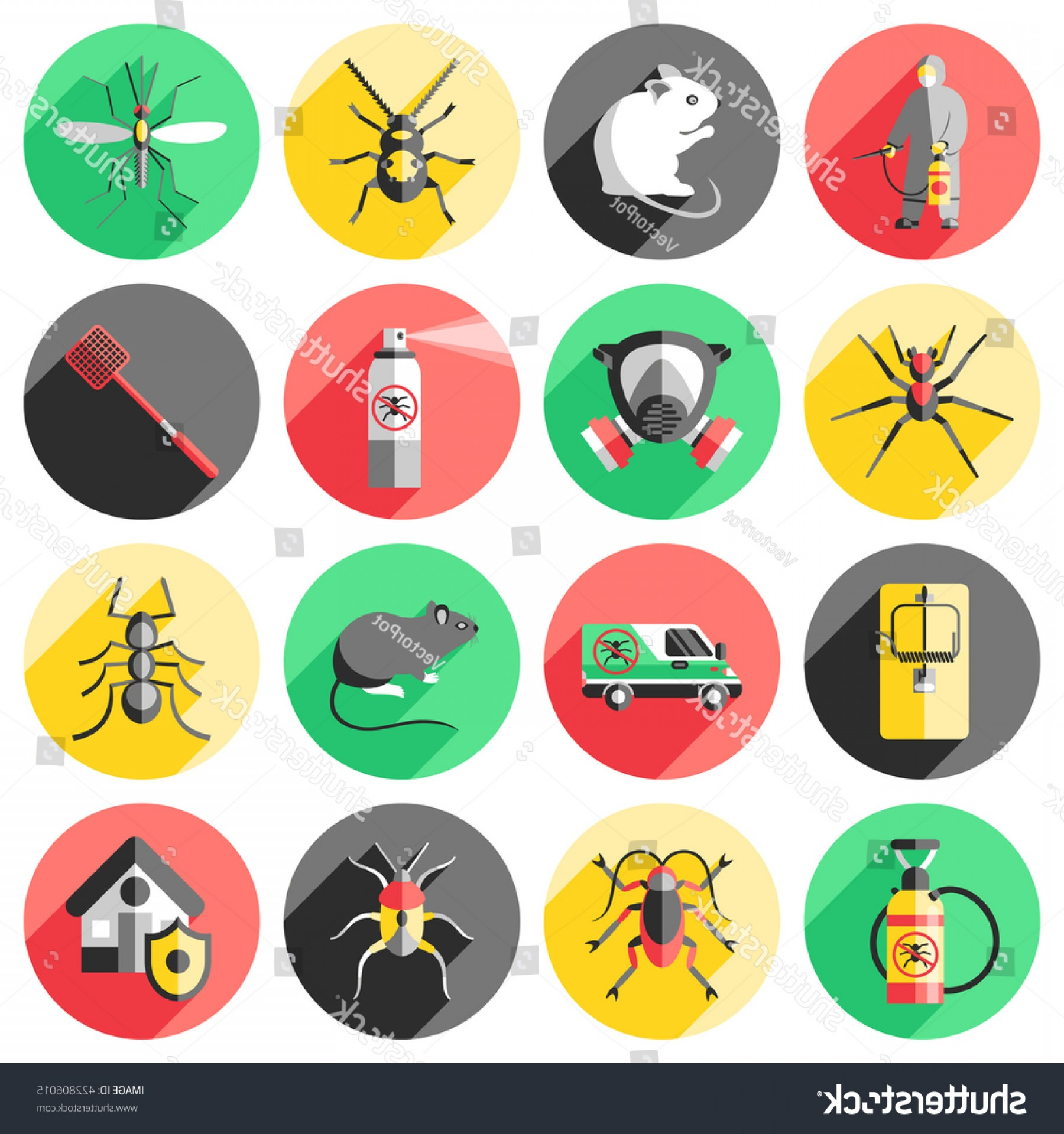 Vector Ban Plus Insecticide: Pest Control Flat Icons Set House
