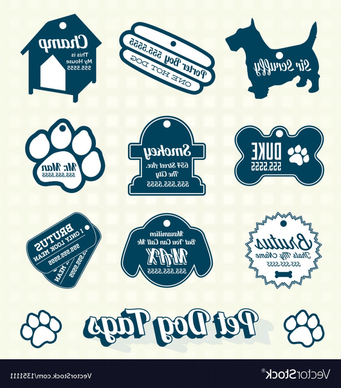 Bone Shaped Dog Tags Vector Art: Pet Dog Name Tag Labels And Icons Vector