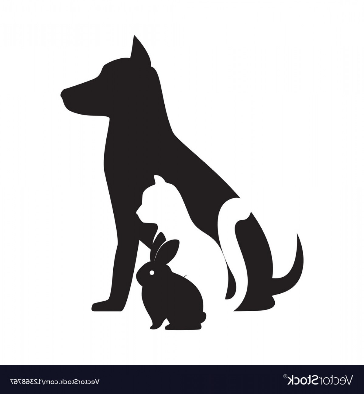 Dog And Cat Vector Illustration: Pet Shop Veterinary Sign Silhouette Dog Cat Bunny Vector