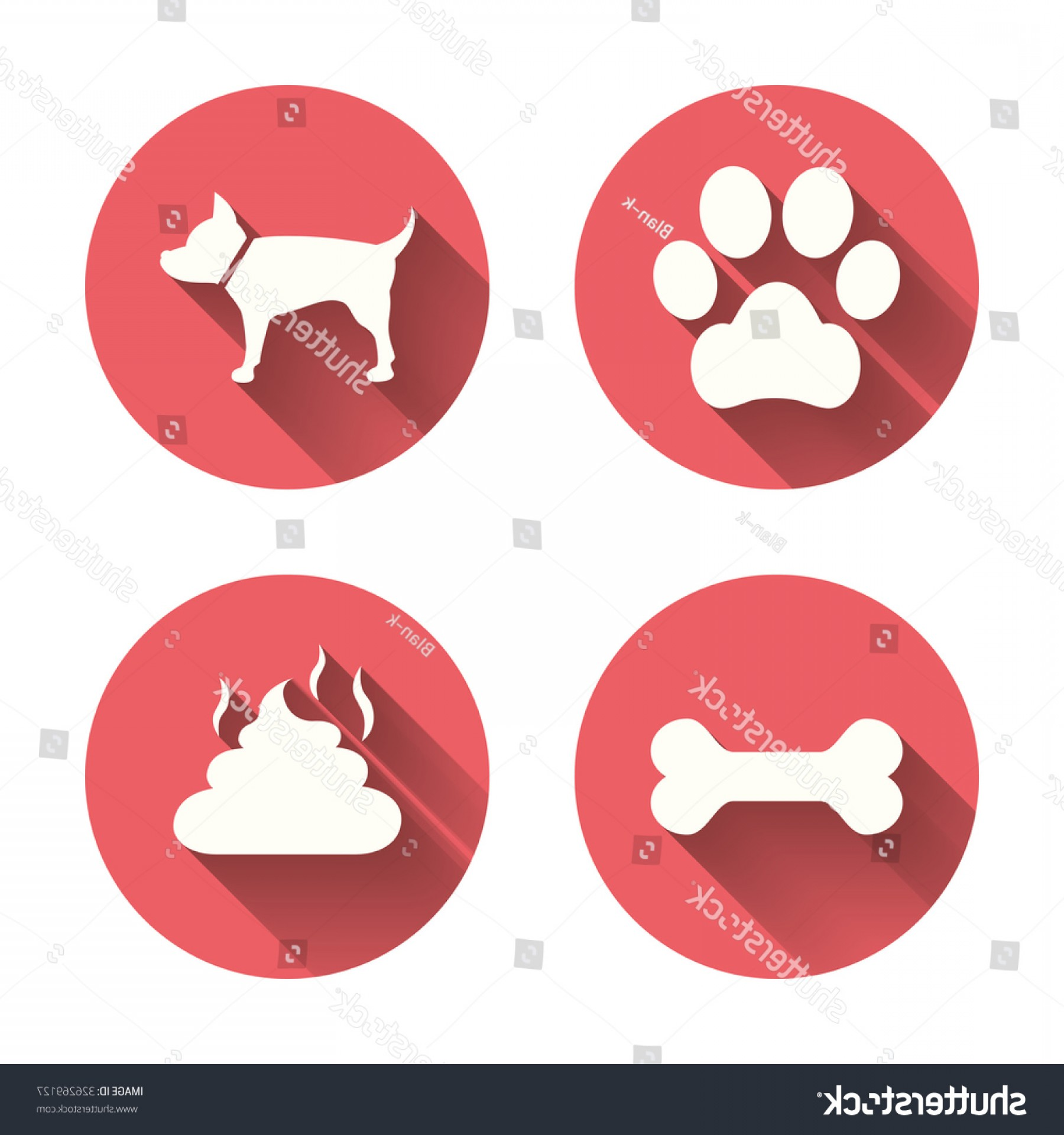 Vector Paw Decals: Pets Icons Dog Paw Feces Signs