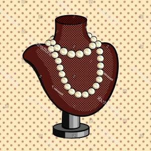 Pearl Necklace Vector Clip Art: Pearl Necklace Comic Book Pop Art