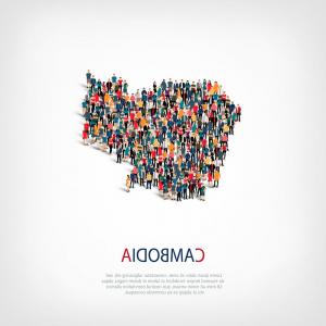 Expanding Population Icon Vector: People Map Country Kosovo Vector